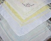 FREE SHIPPING Vintage Hankies - Set of 6 Handkerchiefs