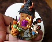Halloween Miniature Whimsy House Tiny Handmade Fantasy Faerie House Collectible Sculpture