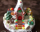 "Classic Gingerbread House - Miniature Handmade One of a Kind Clay Sculpture Whimsy House 2"" Collectible"