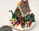 Holiday Candy House - Handmade 1 Inch Scale Gingerbread House Covered in Sweets