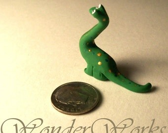 Dollhouse Miniature Brachiosaurus Dinosaur 1:12 Scale Artisan Sculpture Bitty Big Brachio Collectible Tiny Toy for Miniature Childs Room