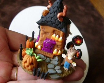 Halloween Whimsy House Tiny Miniature Handmade Fantasy Faerie House Artisan Sculpture Unique Halloween Decor