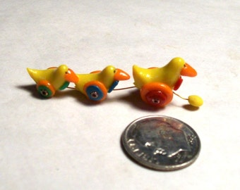 Dollhouse Ducks, In A Row, Three Ducky, Pull Toy, Sculpted Dollhouse 1:12 Scale, Unique Collectible, Miniature Pull Toy