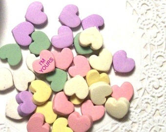 Sweet Heart Faux Candy Beads - 10 Handmade Beads Ready to String or Use in Your Creations