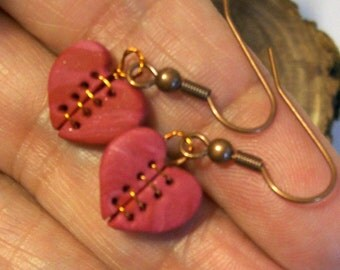 Mended Heart Earrings - Two Sided Handcrafted Copper Threaded Wire Jewelry Art on Copper Fish Hook Wires