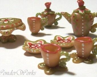 Wonderland Tea for Two, Dollhouse Miniature, 1 Inch Scale, 10 Piece Signature Tea Set, Dollhouse Decor, Unique Sculpt - Paint