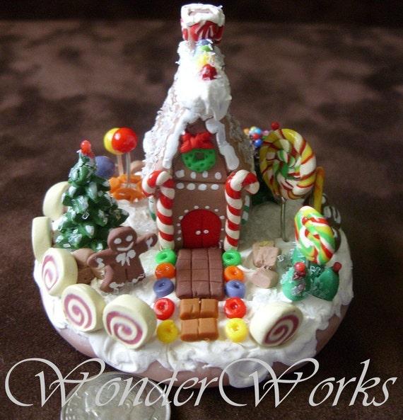 Classic Gingerbread House Miniature Handmade One Of A Kind