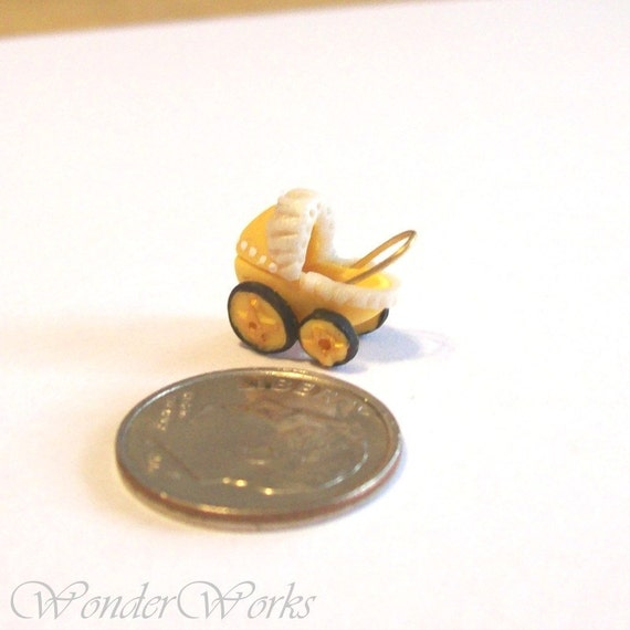 Micro Babydoll Buggy Yellow Lacey Handsculpted OOAK Tiny Doll Buggy Dollhouse Miniature 12th Scale Toy