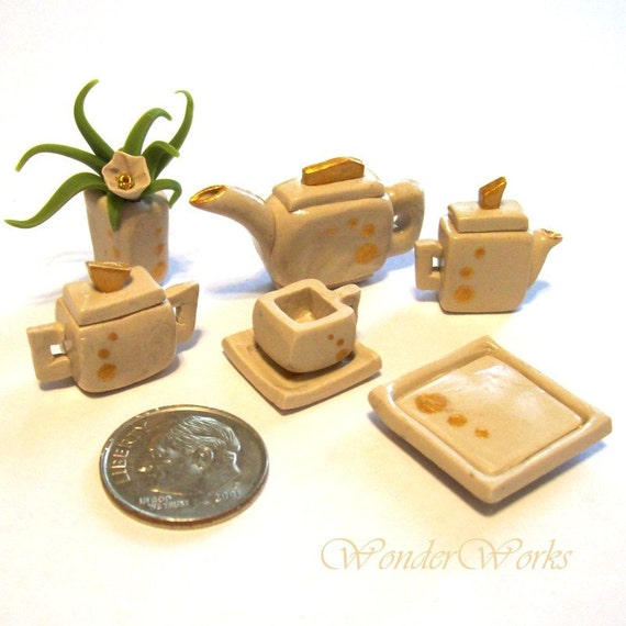 Tea Set, Miniature Dollhouse, Modern Tea, 7 Piece Set, Metallic Gold Accented, Faux Pottery, 1:12 Scale, Hand Sculpted Tea Set for One