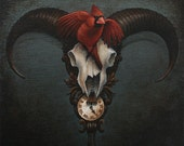 Taxidermy goat skull cuckoo clock - Upon the Hour print