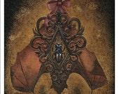 Bat & beetle ornamental art print - Pterontechne