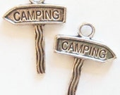 8 Camping Guidepost Charms (double sided) 22x16mm