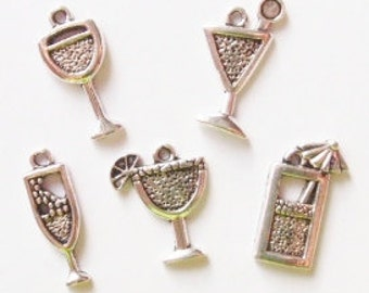 5 Assorted Beverage Charms ITEM:T15