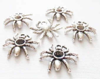 10 Spider Charms 18x19 mm