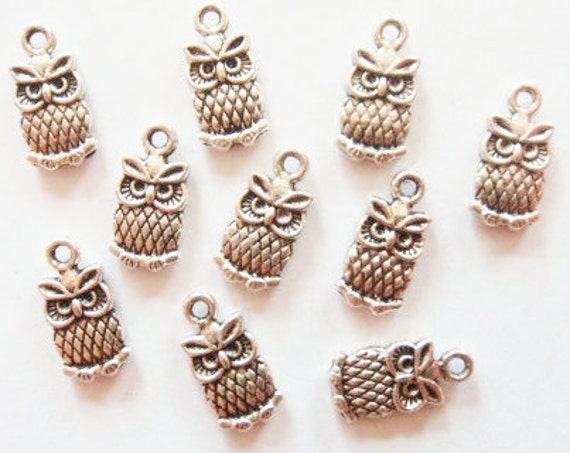 10 Owl Charms (double sided puffed) 7x15mm