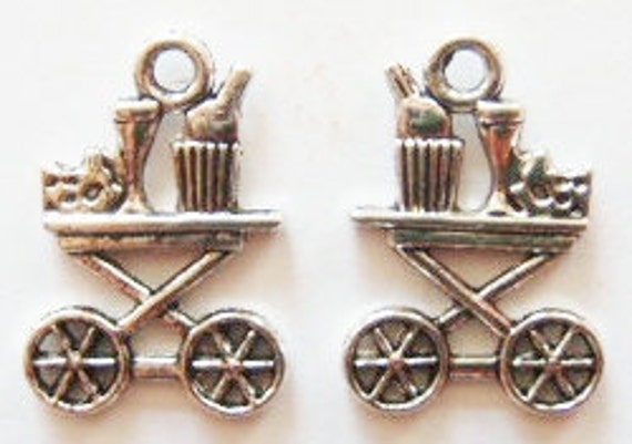 6 Wine Cart Charms (double sided) 22x15mm