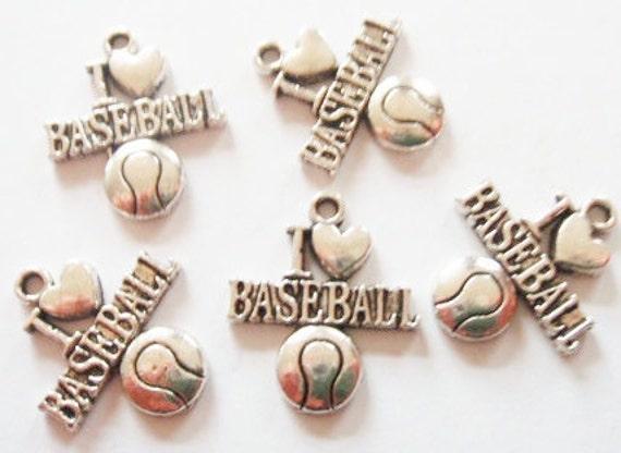 "10 ""I Love Baseball"" Charms 22x19mm ITEM:H9"