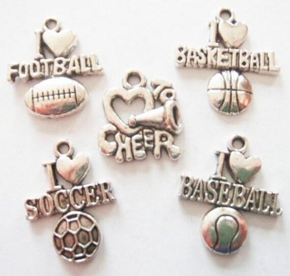 5 All Sport Charms (Football, Basketball, Soccer, Baseball & Cheer)