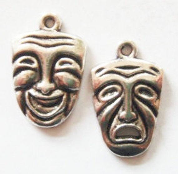8 Comedy/Tragedy Mask Charms 25x16mm 4mm thick ITEM:N34