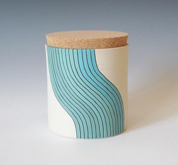 x-large cork jar - wave design