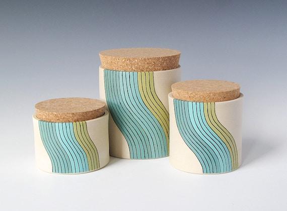 large cork jar - wave design