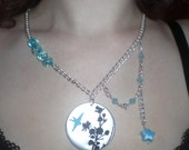 Blue Hummingbird Metal Necklace