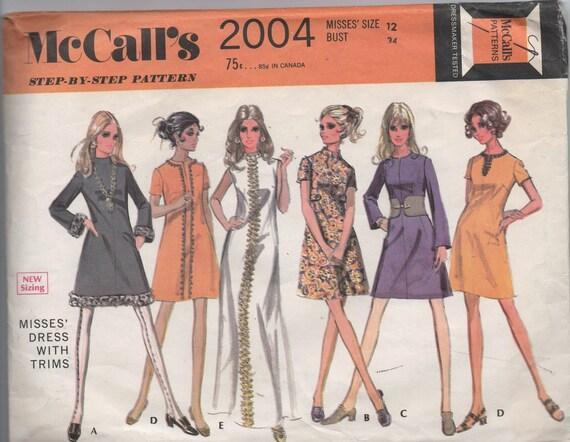 1960s VINTAGE pattern McCalls 2004 size 12 bust 34 misses dress with trims Mad Men