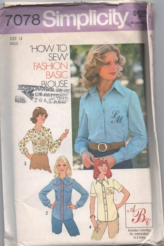 1970s UNCUT VINTAGE pattern Simplicity 7078 size 14 bust 36 misses blouse transfer for alphabet embroidery included