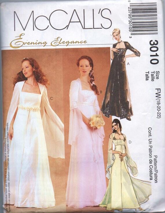 NEW UNCUT pattern McCalls 3010 size 18 20 22 bust 40 42 44 evening elegance misses miss petite lined bridal gown bridesmaids dress plus