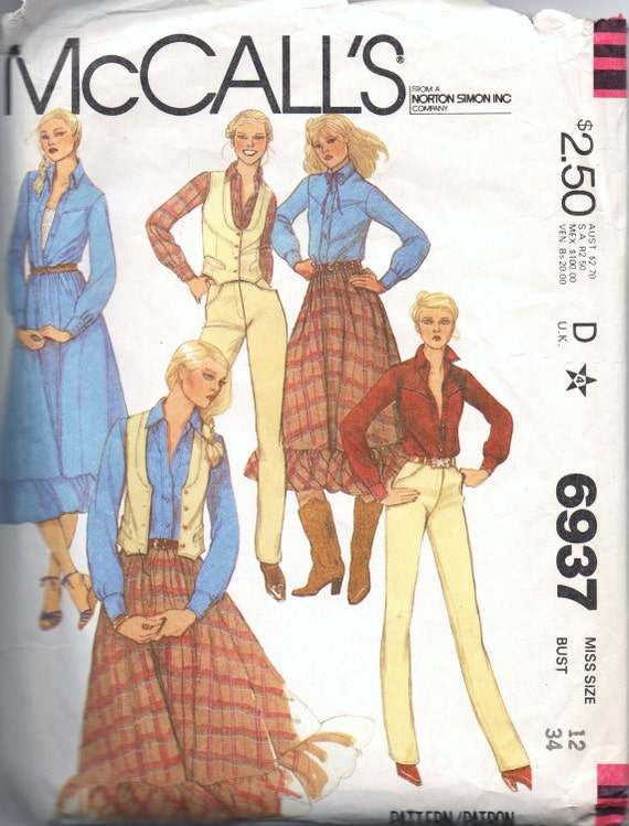 1980s vintage pattern UNCUT McCalls 6937 size 12 bust 34 misses western style ensemble with vest shirt stove pipe leg pants and full skirt