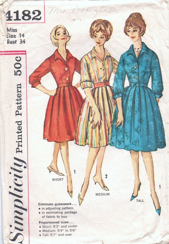 1960s vintage pattern Simplicity 4182 size 14 bust 34 waist 26 hip 36 Misses' One-Piece Dress in Proportioned Sizes Mad Men
