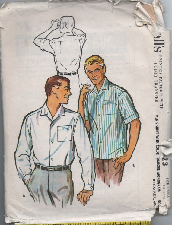 1950s vintage pattern McCall's 4723 size small neck 14 14 1/2 chest 34 36 waist 30 32 men's shirt Mad Men