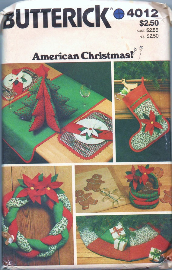 1970s vintage UNCUT pattern Butterick 4012 Christmas Accessory Package Stocking tree skirt wreath table runner placemats basket napkins