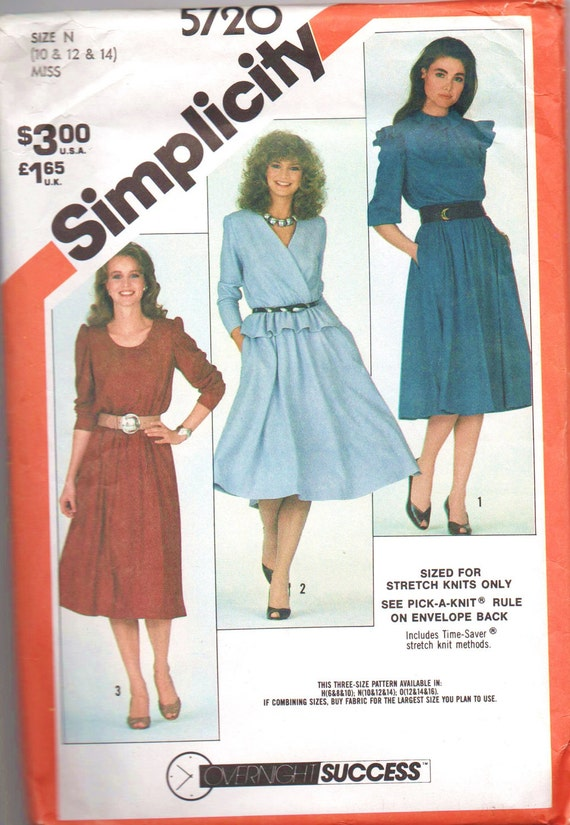 VERY RARE 1980s vintage UNCUT pattern Simplicity 5720 1982 size 10 12 14 Overnight Success Pattern Series Misses Pullover Dresses