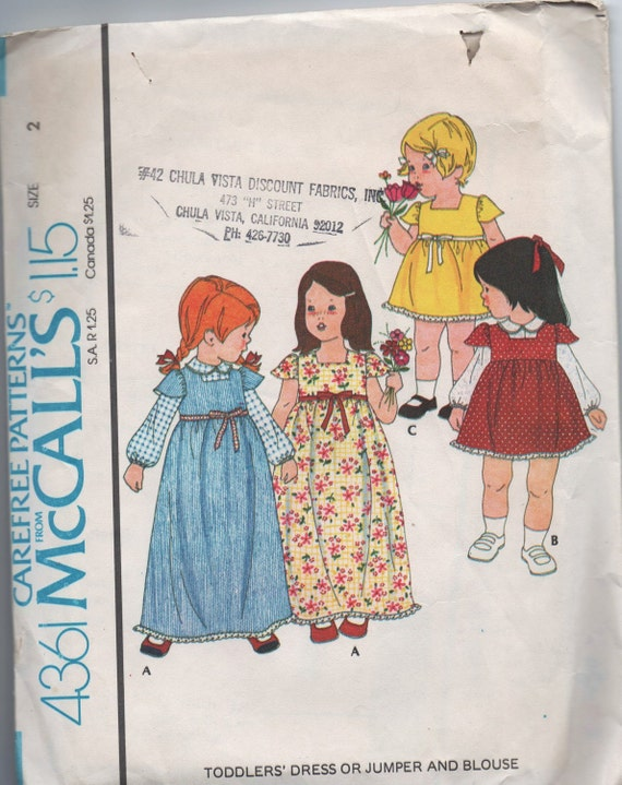 1970s vintage pattern McCalls 4361 1974 size 2 breast 21 waist 20 Toddlers dress or jumper and blouse