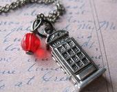 London Calling British Phonebooth Tardis Charm Necklace