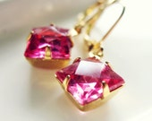 Sparkling Pink Vintage Drop Estate Earrings