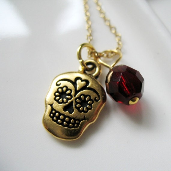 SALE. Gold Plated Calavera Sugar Skull Charm Necklace