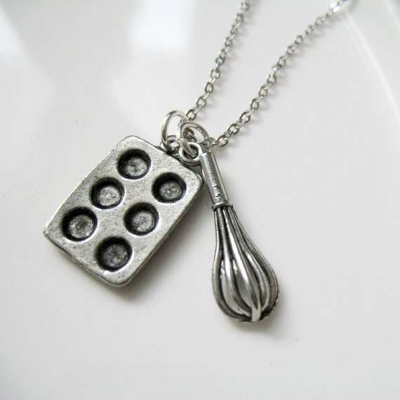SALE. Baking Queen Whisk and Cupcake Tin Charm Necklace
