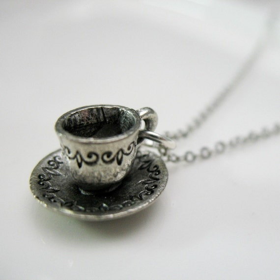 Silver Pewter Tea Cup Charm Necklace