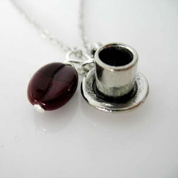 SALE. Cup of Joe Coffee Cup and Coffee Bean Charm Necklace.