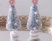 2  Pearl and Pink Flower Bottle Brush Trees