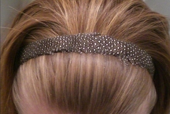 feather stretch headband elastic guinea hen brown black white speckled