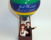 Hot air balloon custom wedding cake topper