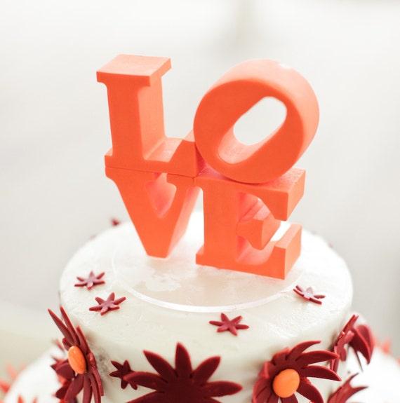 Philadelphia love wedding cake topper custom color made to order