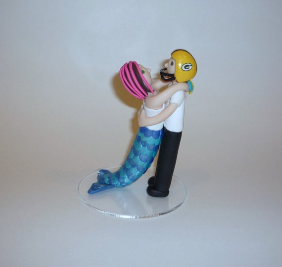 Custom Mermaid and Groom Wedding Cake Topper