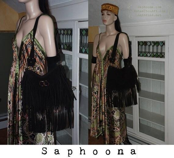 Vintage Boho 60s 70s fringe buckskin suede hide large shoulder bag purse bag hippie dark brown brooch festival INCLUDES US SHIPPING