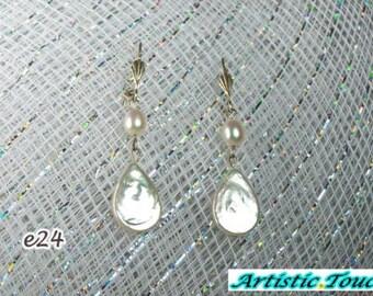 Pearl earrings, Wedding earrings, Bridal earrings, flat white teardrop real pearls with white 6mm AAA drop pearls, weddings, gifts under 50