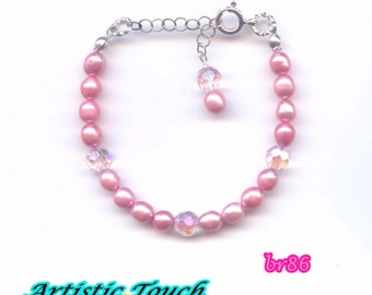 Kid's  Pearl Bracelet 6in child's adjustable pink 4-5mm rice pearls with sterling silver, Baby bracelet, bridal jewelry, gifts under 20