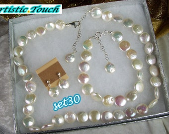 Coin Pearl Necklace Set 18in 10mm white coin freshwater pearl necklace, bracelet and earring continuous adjustable set bridal pearl gift set